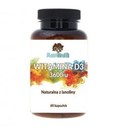 Witamina D3 3600iu Naturalna z lanoliny 60 kaps. Planet Health