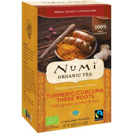 Herbata Turmeric THREE ROOTS BIO (12 saszetek) NUMI Organic Tea
