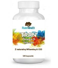 TRAN Omega-3 witamina A + D3 EPA + DHA 1000 mg 180 kaps. czysty olej z wątroby dorsza islandzkiego Planet Health